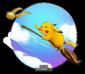 Entry 01 - Pikachu on Nimbus 2000 - #Artistan365 by SyedJeem