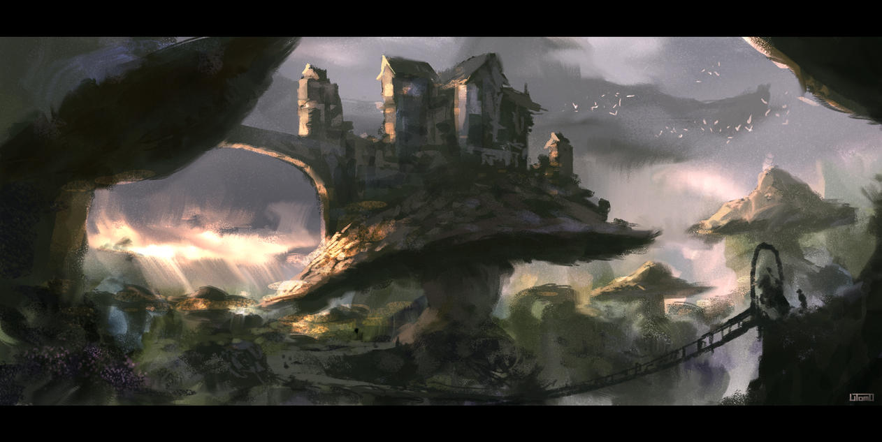 Giant Mushroom Landscape by Juhupainting