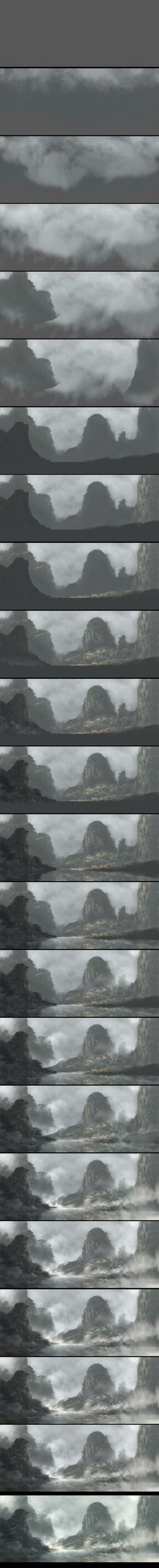 Chinese Mountains Steps by Juhupainting