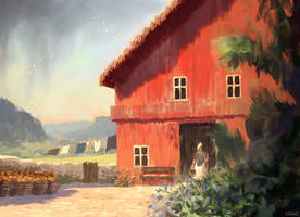 Red Barn by Juhupainting
