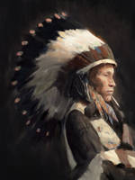 Sioux Portrait by Juhupainting