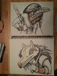 Shaman Portraits: Raven and Wolf