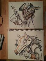 Shaman Portraits: Raven and Wolf by greymattre
