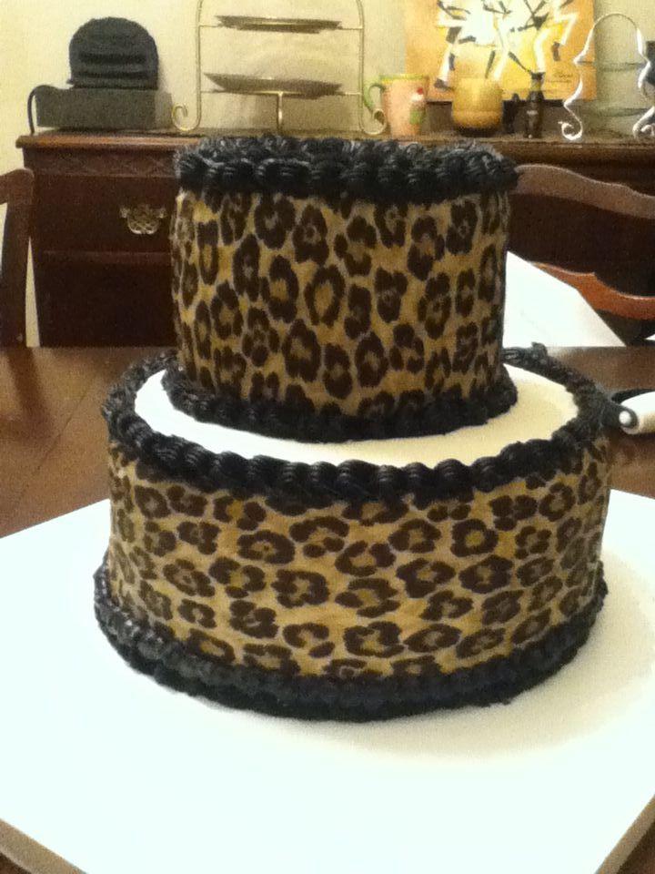 Leopard Print Buttercream Cake