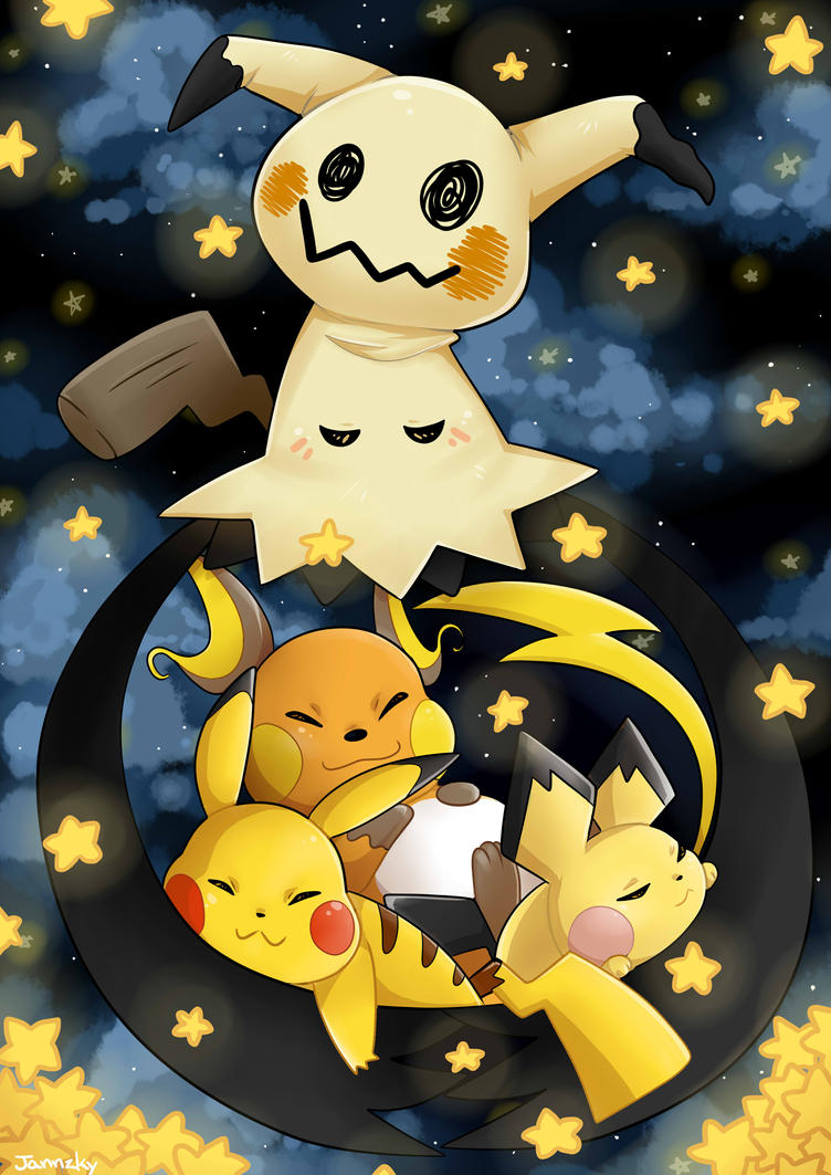 the chu's and mimikyu by Jannzky