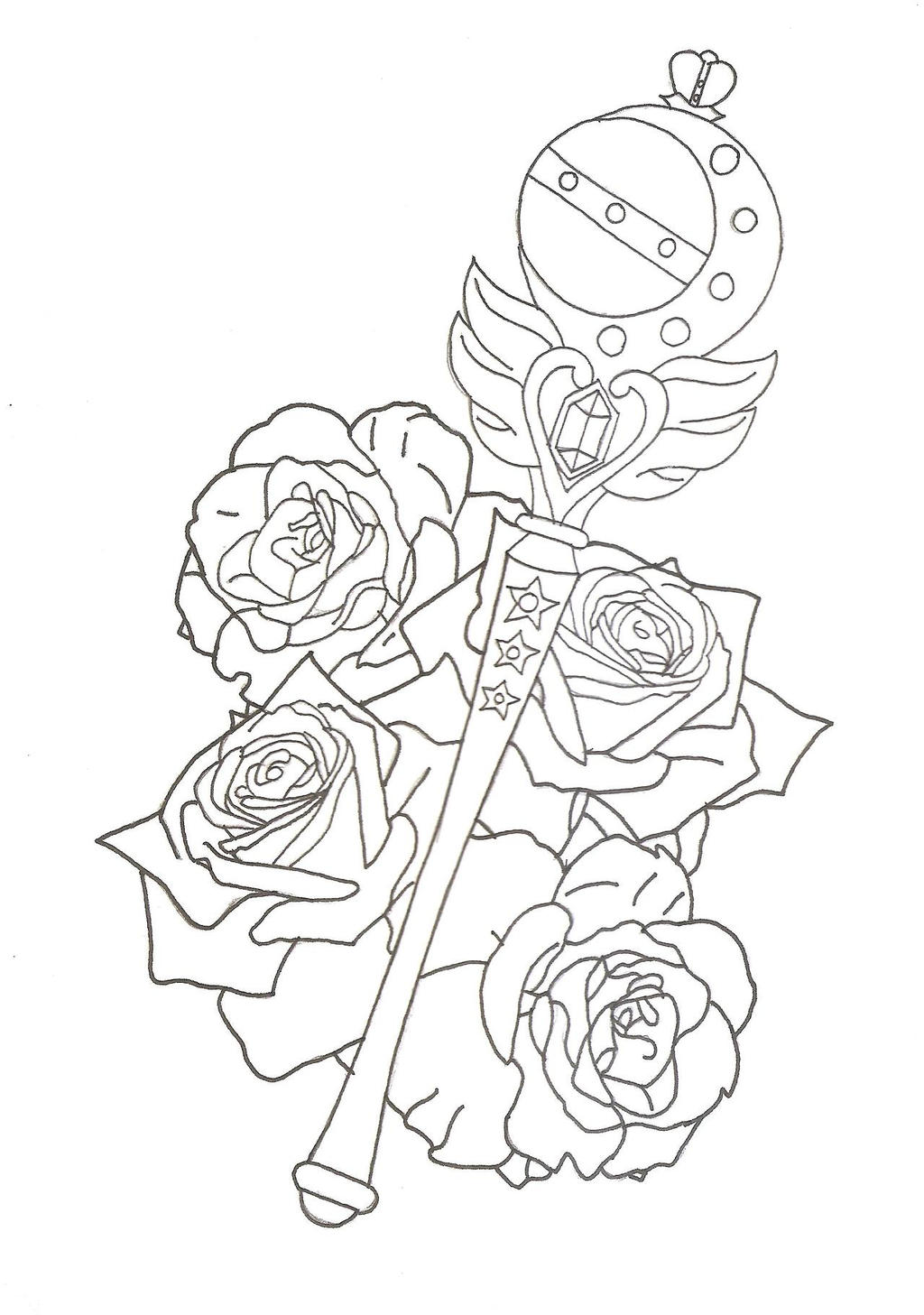 New Line Art Design : Sailor moon cutie rod tattoo design by