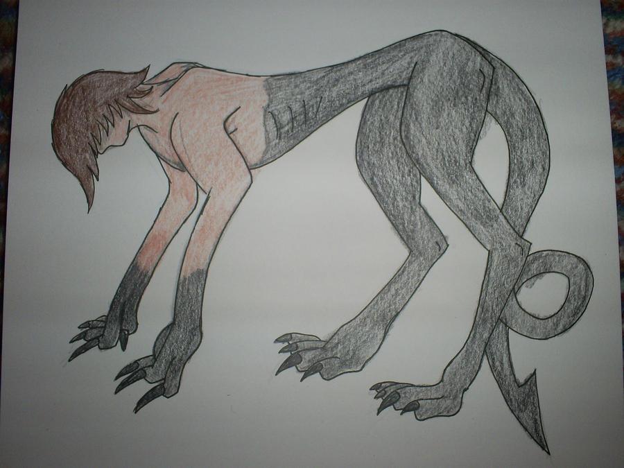Half Human Half Animal Drawing Half human half creature by