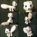 Needle felted posable arctic fox