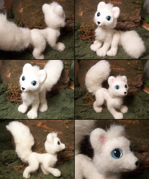 Posable arctic fox felted plush