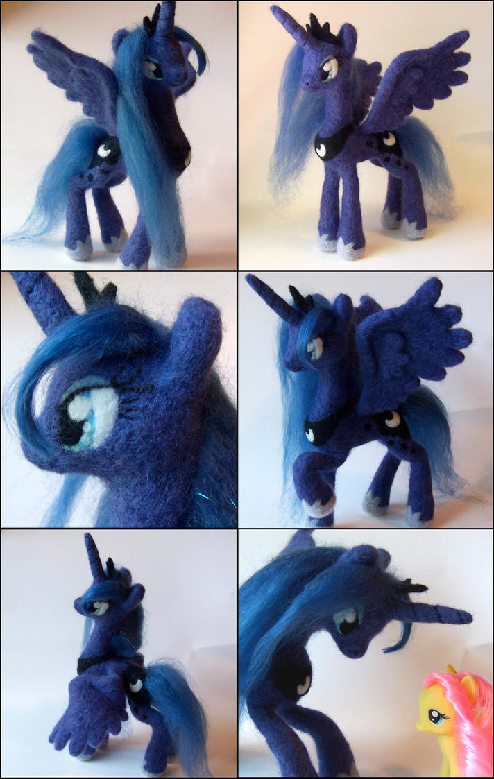 Princess Luna Posable Needle Felted Plush by SnowFox102