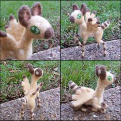 Needle felted deer creature by SnowFox102
