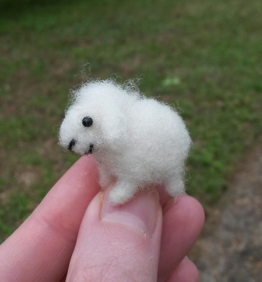 Micro needle felted sheep by SnowFox102