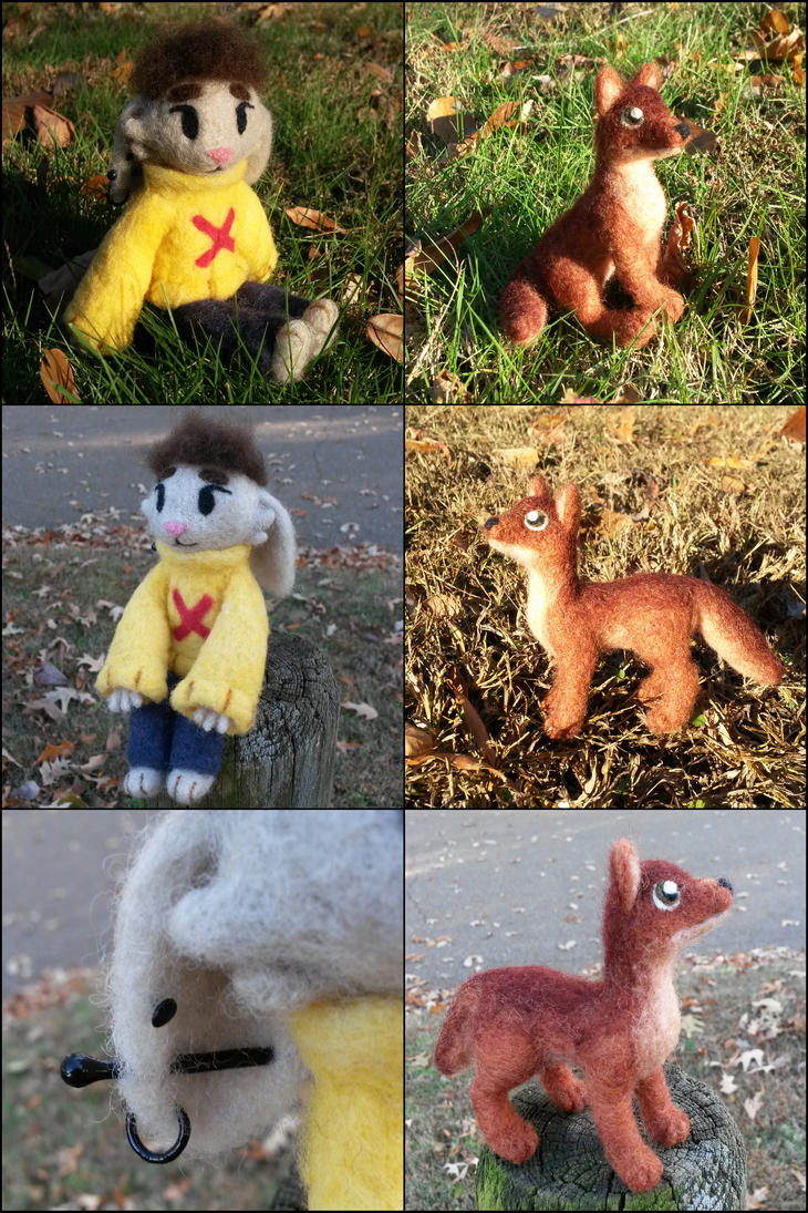 Posable needle felted characters by SnowFox102