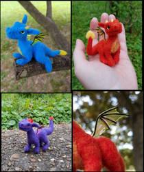 Posable mini needle felted dragons