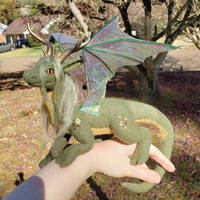 Posable forest dragon art doll