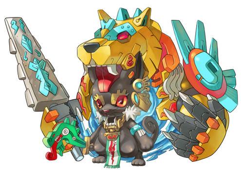 Cat Aztec Warrior