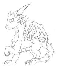 Rose Dragon Line Art