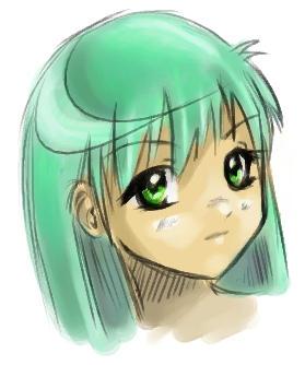 green hair :_ by emi-chan