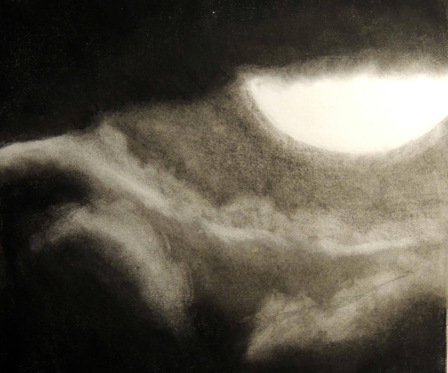 how to draw a sunset with charcoal