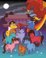 Fushigi Yuugi Ponies - All Suzaku Warriors by MwellretMiko