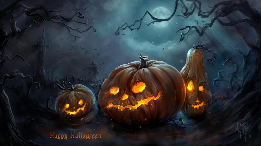 Halloween pumpkins on a walk by BettyElgyn