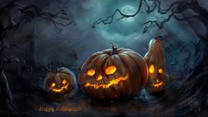 Halloween pumpkins on a walk