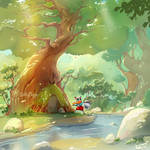 Kidsbook illustration-Playing under the Tree