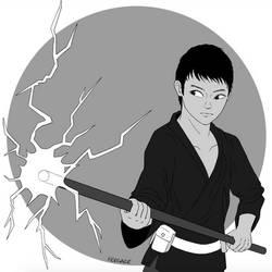 Inktober 27: Thunder Summoner by Fergaze