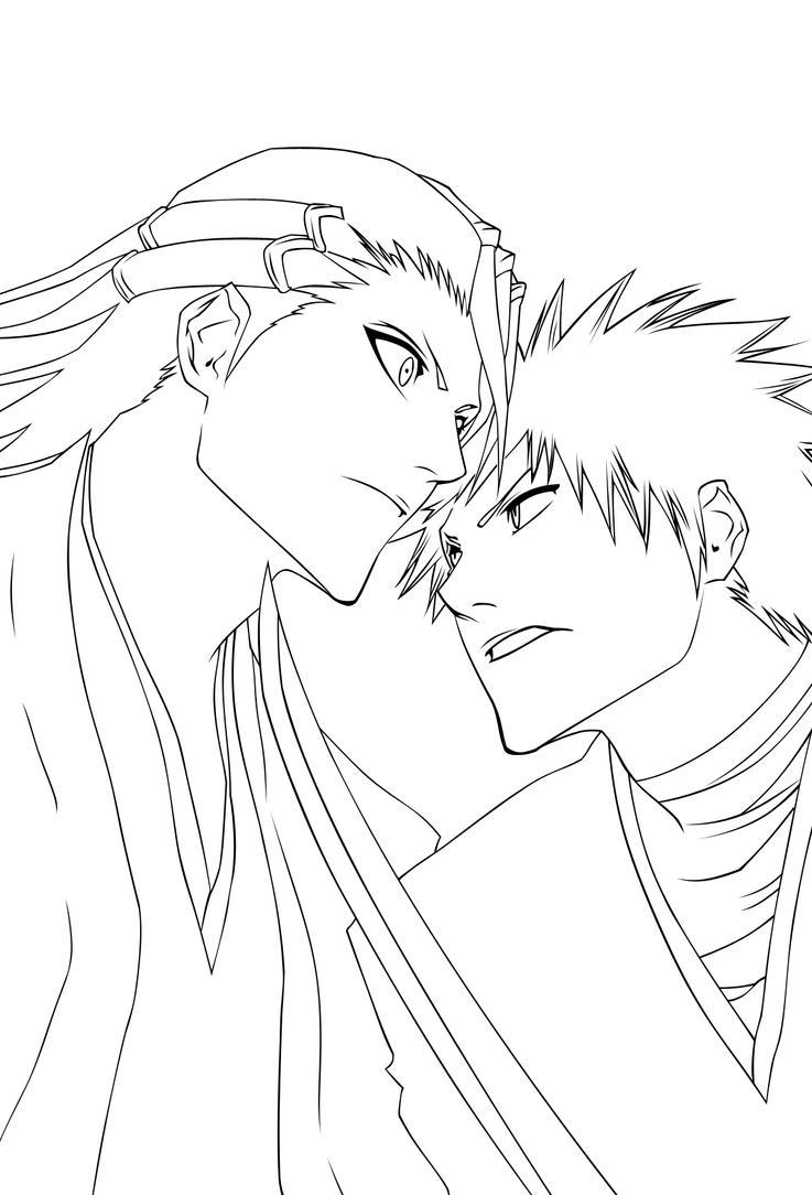 Line Drawing Vs Value Drawing : Ichigo vs byakuya lineart by raizen on deviantart