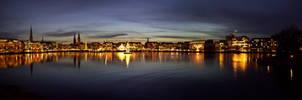 Hamburg Alster Panorama Night