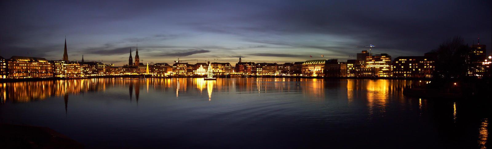 Hamburg Alster Panorama Night by Bull04