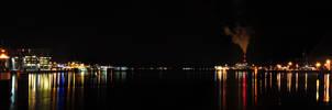Night Panorama view Kiel Fjord