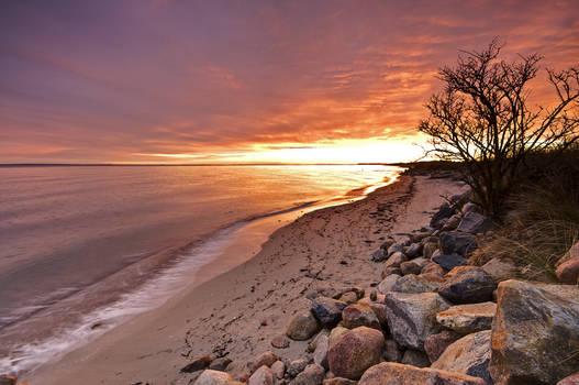 Fantastic sunset on the coast