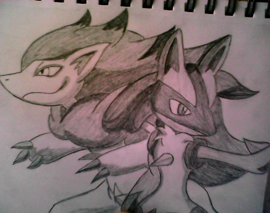 Zoroark and Lucario (Request) by XSlappyTheDummyX