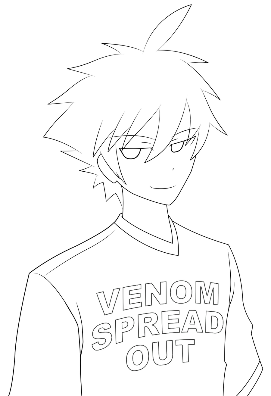 Lineart Anime Boy : Anime boy lineart by venomspreadout on deviantart