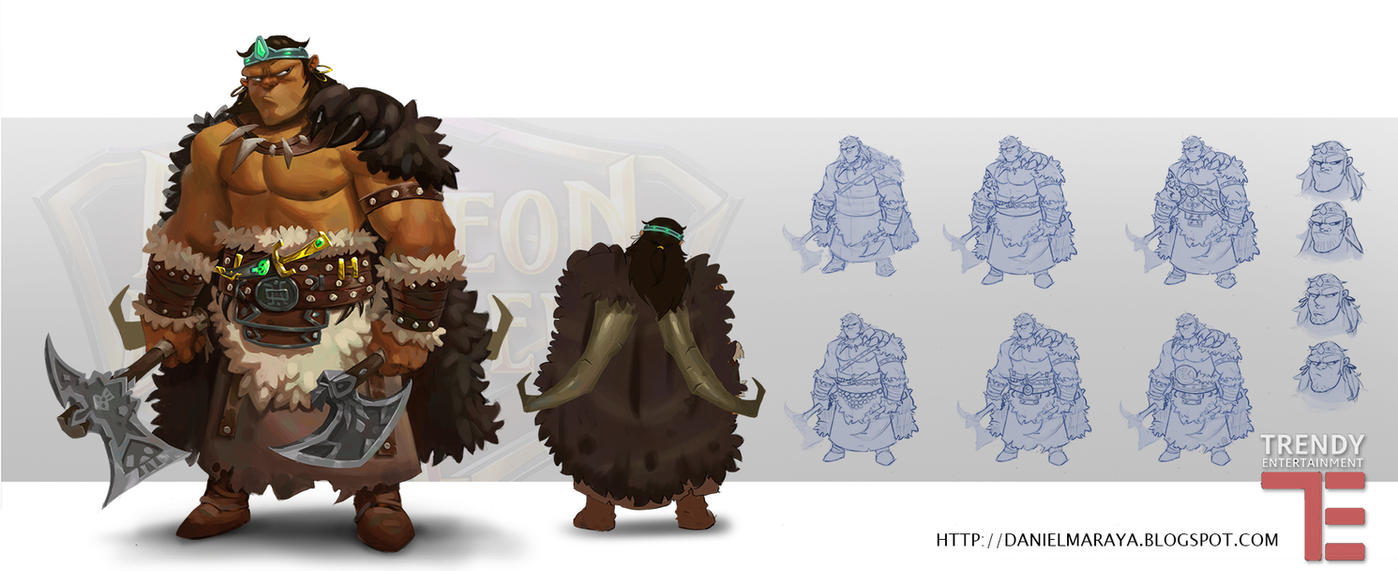 Dungeon Defenders Barbarian Concept Art by DanielAraya