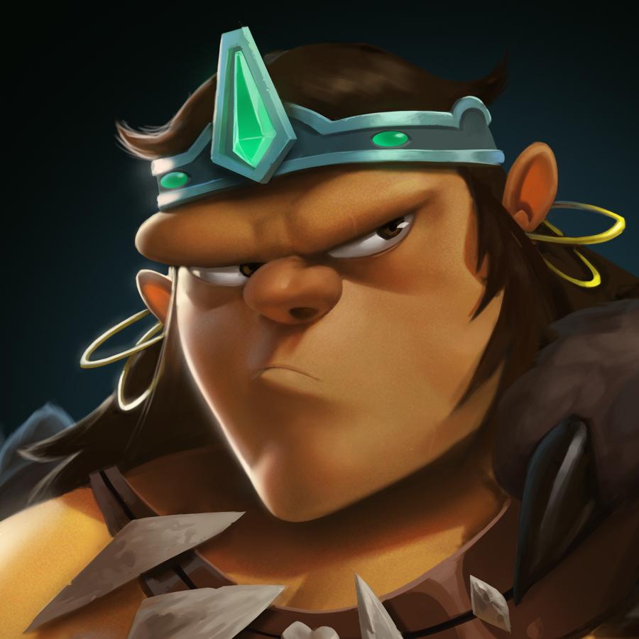 Dungeon Defenders Barbarian Portrait by DanielAraya