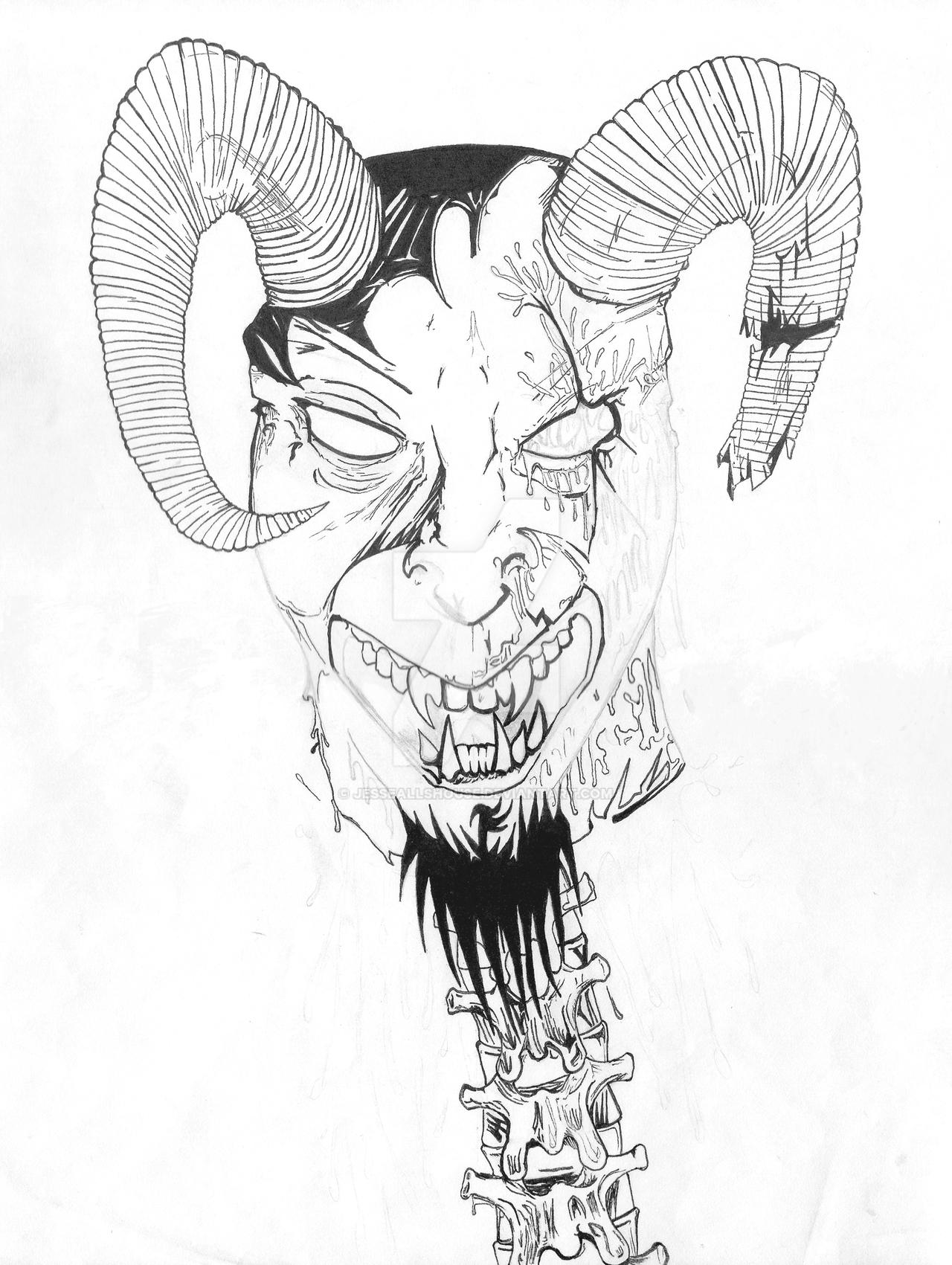 Satan Decapitated Sketch and Ink