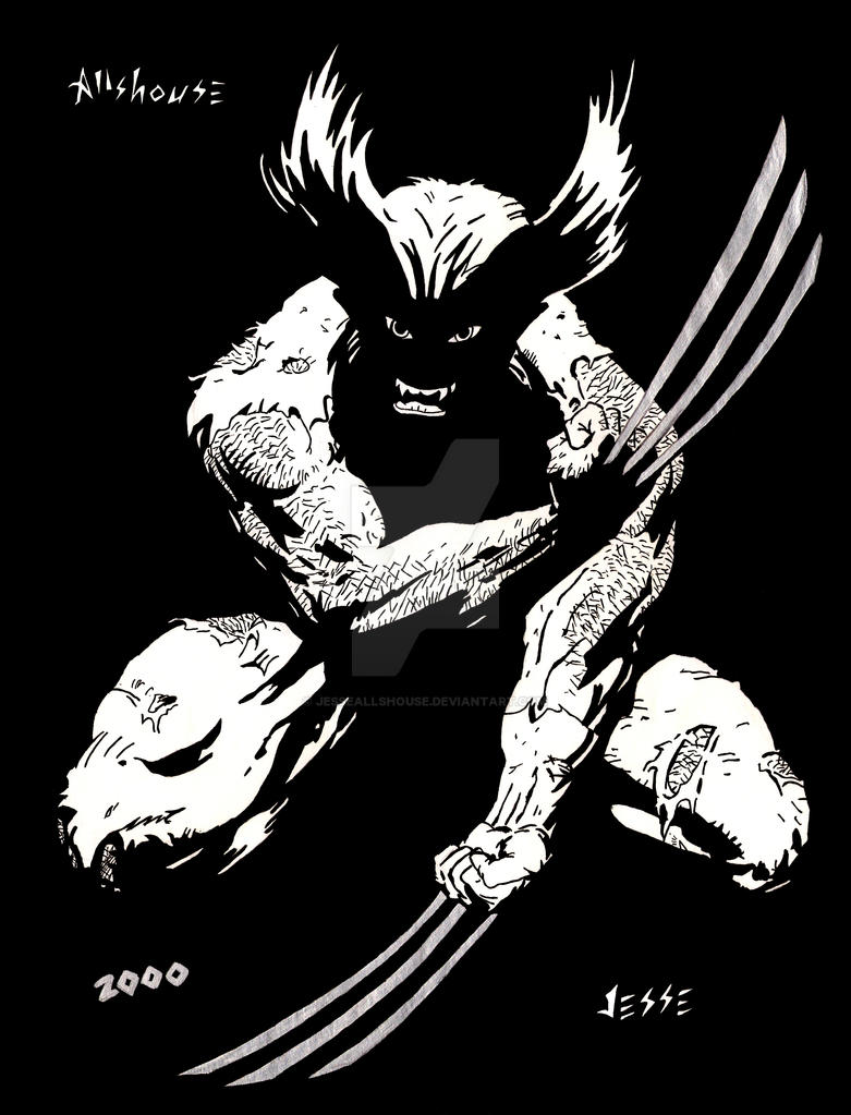 Wolverine Black and White by JesseAllshouse