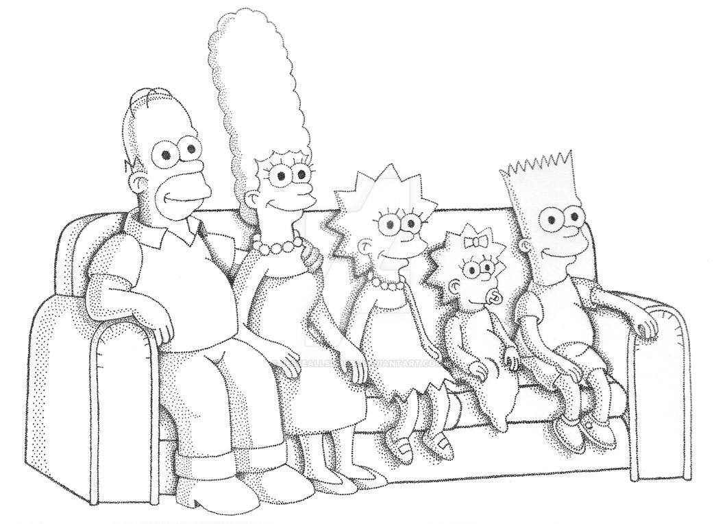 The Simpsons Stippling by JesseAllshouse