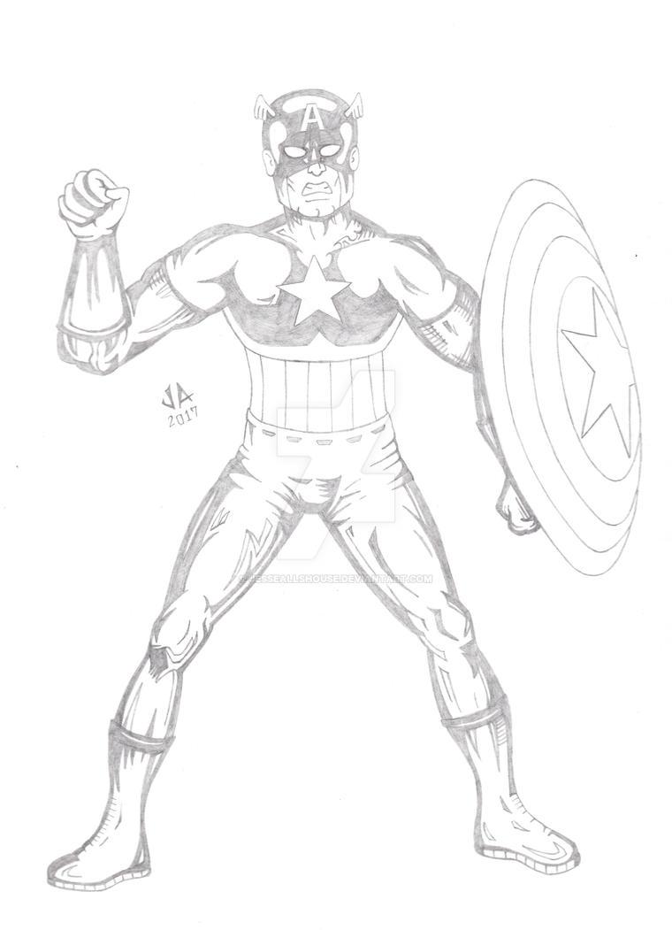 Captain America Quick Sketch by JesseAllshouse