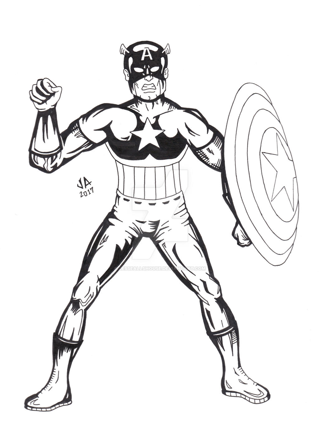 Captain America Pen and Ink