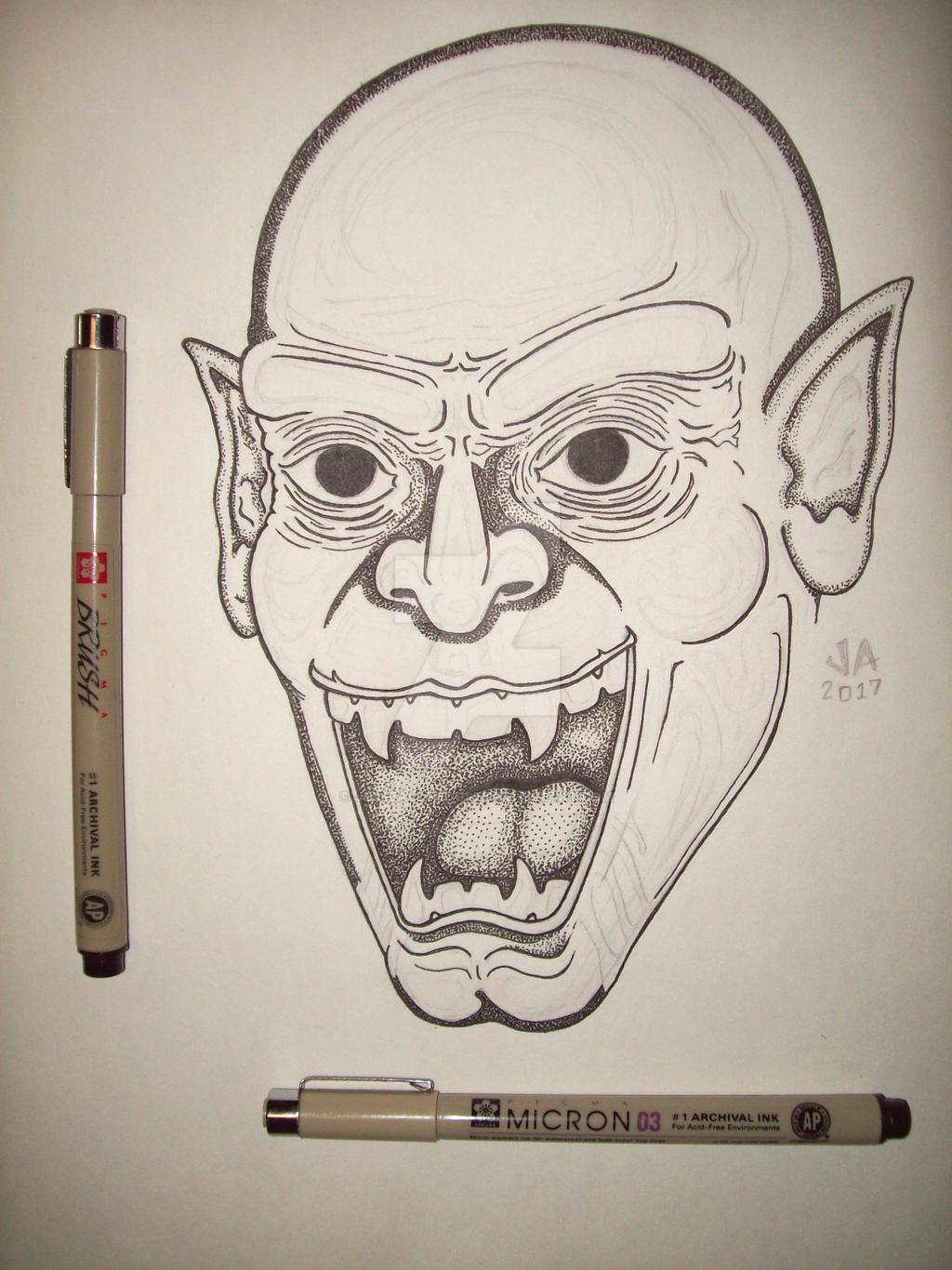 Nosferatu Pen and Ink Work In Progress
