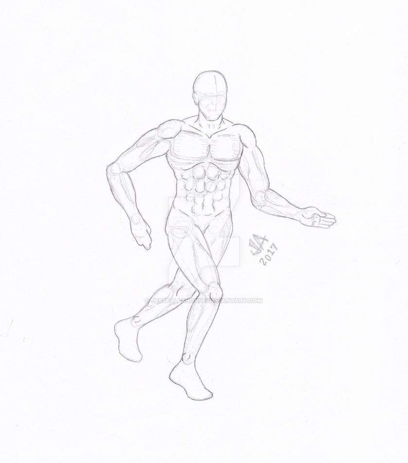 Running Pose Quick Sketch by JesseAllshouse
