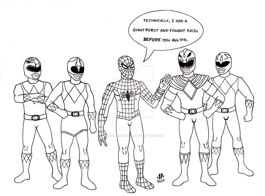Spider-Man Power Rangers Pen and Ink by JesseAllshouse