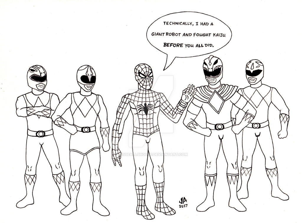 Spider-Man Power Rangers Pen and Ink