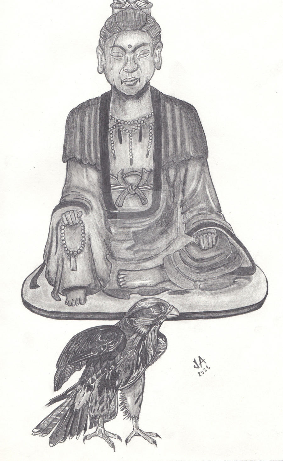 The Buddah and the Falcon Sketch by JesseAllshouse