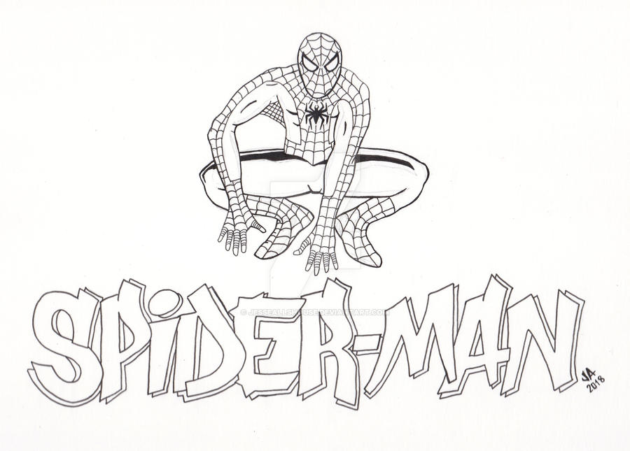 Spider-Man Logo Pen and Ink by JesseAllshouse