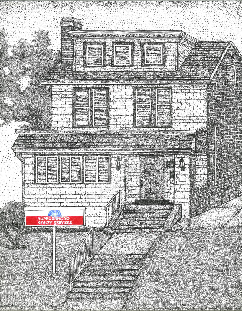 Stippling House Pen and Ink Commision