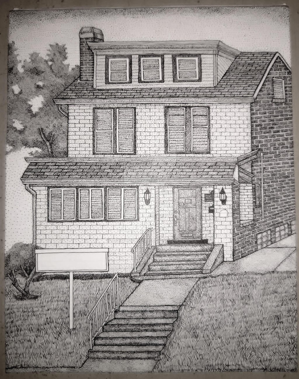 Stippling House Pen and Ink Commision Photo